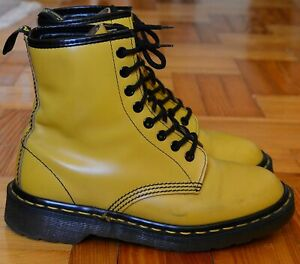 Dr Martens Yellow, Mustard, Vintage Shoes, Size 4.5, Made in England
