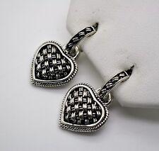 Chic Design Post  Rhodium Plated Heart Shape Dangle Clip fashion Earrings #7-84