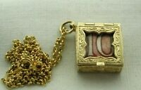 Vintage 9 Carat Gold Old Ten Shilling Note Emergency Pendant And Chain