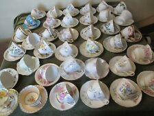 LOVELY JOB LOT OF 10 VINTAGE MISMATCH CHINA CUPS & 10 MATCHING SAUCERS