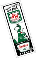"""SINCLAIR Gasoline S & H GREEN STAMPS Aluminum GAS & OIL SIGN w/ DINO 18"""" x 6"""""""