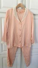 Original Vintage ~ Silk Pyjamas ~ 100% Silk ~ Lace ~ Peach ~ Small ~ Gorgeous !