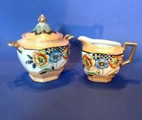 Hand Painted Sugar And Creamer - Luster With Checkerboard And Poppies - Japan