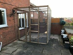 """Catio / House Cat Enclosure 3 Sided Run 6ft x 6ft x 7ft5"""" Safe Outdoor Lean too"""
