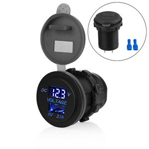 Waterproof 5V 2.1A USB Motorcycle Power Charger Socket Adapter Volt Meter Blue