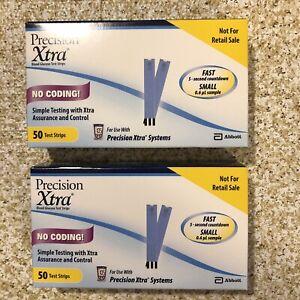 100 Abbott Precision Xtra Blood Glucose Diabetic Test Strips 2022-04-30