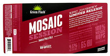 Green Flash Brewing  MOSAIC SESSION - INDIA PALE ALE beer label CA 12oz