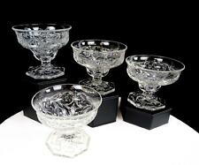 "MCKEE DEPRESSION GLASS ROCK CRYSTAL CLEAR 4 PIECE 3 1/4"" SUNDAE CUPS 1915-1944"