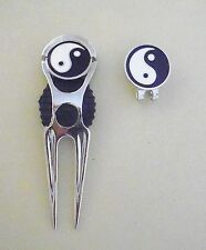 2 only Yin Yang Golf Ball Markers With Nice Divot Tool & Hat Clip Set