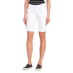 Lauren Ralph Lauren Womens White Realeen Basic Twill Bermuda Shorts Size 14 $69