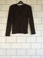 WOMEN'S RALPH LAUREN URBAN VINTAGE RETRO LONG SLEEVED BROWN T SHIRT TOP 10/12 #1