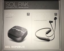 Sol Republic SOL PAK with Punk bluetooth speaker and Shadow bluetooth earphones