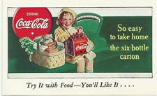 Vintage 1930's Free Coca - Cola 6 Pack Coupon & Advertising Card Card N. O. S.