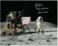 John Young Apollo 16 (9th Man on the Moon) Signed Lunar Surface Photo