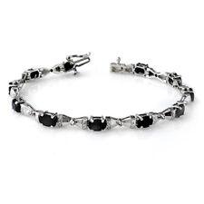 7.11 CTW Blue Sapphire & Diamant Armband 10K Weißgold-REF-60Y8N... Lot 3870