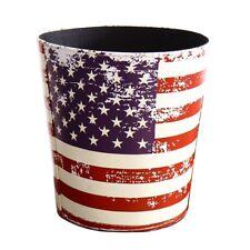 Waste Bin - Vintage Decorative American Flag Design Waste Paper Basket for