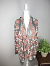Miss Daisy women's size Large Gray and Coral Chevron Print Open Cardigan BL14
