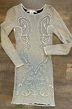 Max Studio Women's Sz Medium Sweater Dress Cream Black Long Sleeve Fitted Dress