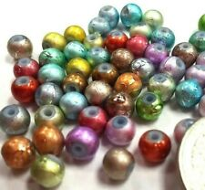 6 mm Glass Beads Rainbow  Spectra Multi Colorful Round Glass Bead DIY 60 pcs