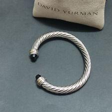 David Yurman Classic Sterling Silver 7mm Cable Black Onyx Bracelet