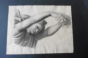 FRENCH SCHOOL 1883 - STUDY CLASSICAL FIGURE SIGN. TRONCHERE - VICTORY - CHARCOAL