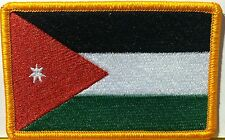 JORDAN Flag Embroidered Iron-On Patch Military Emblem Gold  Border