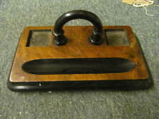 1930's  Wooden Ink Desk Stand With Two Ink Wells Slots And Pen Rest