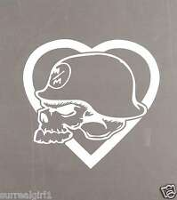 "Metal Mulisha HEARTSTRUCK 6"" STICKER DECAL WHITE AUTO Moto-X FMX ARMY SKULL"