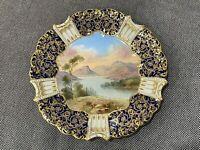 Antique Aynsley English Porcelain Cobalt Gold Plate Painted Lake Loch Katrine