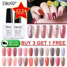 Elite99 UV LED Rose Gold Glitter/Nude Colour Gel Nail Polish Base Top Coat 10ML
