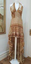 Boho Vintage Silk Spell Ruffle Festival Halter Long Tail Mini Dress Sz S UK 10