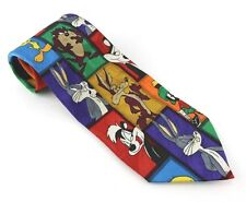 Vtg 90s Loony Tunes Tie Bugs Bunny Willey Coyote Taz Tweety Bird Pepe Le Pew