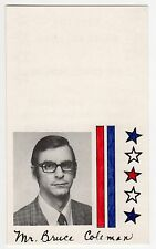 1978 BRUCE COLEMAN Ohio CONGRESS US House POLITICAL Palm Card POLL Madison Co