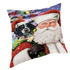 Jolly Old Saint Nick with Bluetick Coonhound Dog Throw Pillow 14x14