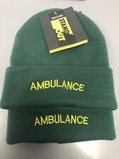 AMBULANCE FIRST RESPONDER Beanie / Woolly Hat (GREEN) for Paramedic St John 999