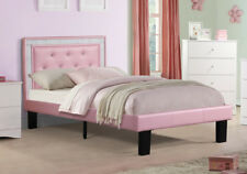 Youth Kids Teen Bedroom Full Bed Button Tufted Crystal Headboard Pink PU Leather