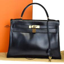 AUTHENTIC HERMES KELLY 35 HAND BAG BOX CALF LEATHER BLACK ◯J VINTAGE 383R232