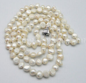 Genuine Natural 7-8mm White Baroque Pearl beads Necklace Silver Clasp 14-36''AAA