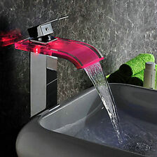 Modern No Need Battery LED Faucet Brass Mixer Tap Chrome Finish Waterfall Faucet