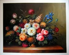 art print~GARDEN BOUQUET~Victorian Vtg re Iris Dahlia Tulip Flowers Floral 22x18