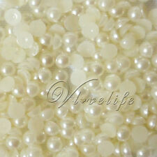 1000 5mm Ivory Flat Back Pearl Beads Scrapbook Craft