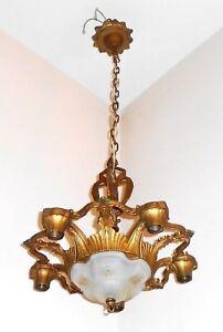 Polychrome Antique Art Nouveau 1920s 6 Light Chandelier Ceiling Fixture