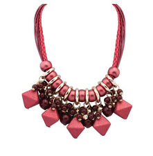 MARNI H&M  Red Rhombus Weaving Pendant Necklace