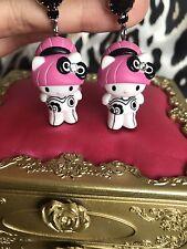 Tarina Tarantino Pink Head Collection Hello Kitty Gothic Lolita Cyber Earrings