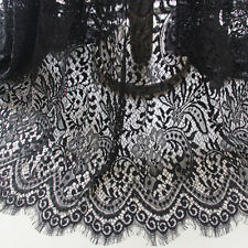 "Black Floral Eyelash Lace Fabric Vintage Embroidered DIY Dress 59"" Sold By 3 Yd"