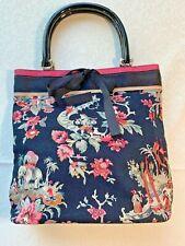 Talbots Handbag Purse Oriental Black Floral Pattern Magnetic Snap Closure Asian