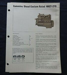 """1967 GENUINE CUMMINS """"CUSTOM RATE NHCT-270 DIESEL ENGINE"""" SPECIFICATION BROCHURE"""