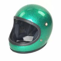 Motorcycle Full Face Helmet Bell? Green Sparkle Metal Flake Large Vintage 70s