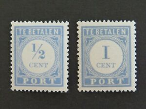 Netherlands 1912-1920 ½c and 1c Postage Dues NVPH P44 P45 MUH