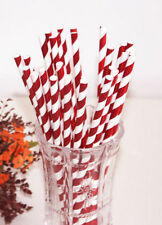 25 Red abd White foil paper party straws red christmas xmas party